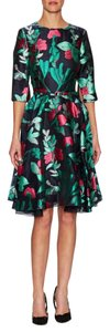 Oscar de la Renta Embroidered A-line Formal Exclusive Silk Dress