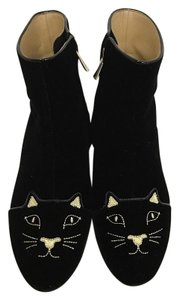 Charlotte Olympia Kitty Velvet Ankle Sold Out Black Boots