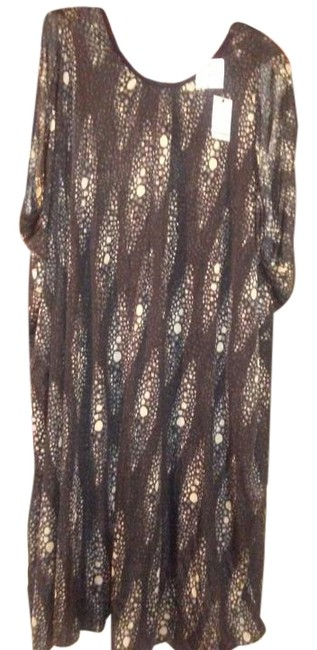 Item - Charcoal Print Draped Knee Length Work/Office Dress Size 24 (Plus 2x)