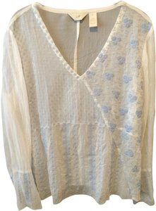J. Jill Top White with baby blue stitching