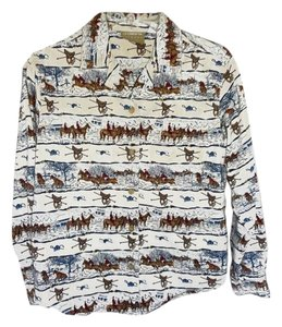 Liz Claiborne Long Sleeve Cotton Equestrian Print Cream /blue Button Down Shirt BLUE/CREAM