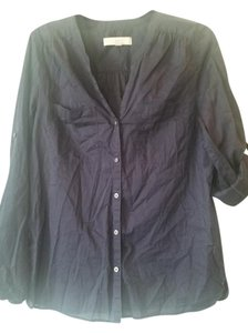 Ann Taylor LOFT Button Down Shirt Navy