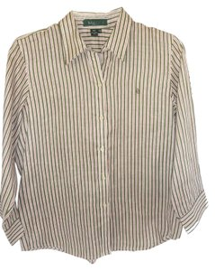 Ralph Lauren Long Sleeve Cotton Equestrian Print Black Multi Button Down Shirt WHITE/GREEN/RED STRIPE