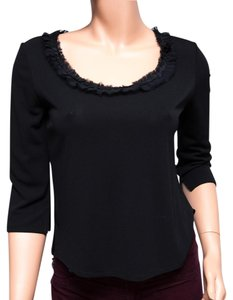 Cynthia Steffe Lace Scoop Neck Made In The Usa Top Black