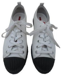 Prada Leather White black Flats