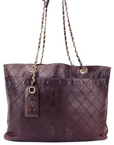 Chanel Diamond Stitch Quilted Vintage Tote in Brown