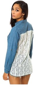 Lira Lace Button Down Shirt Chambray
