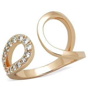 La Bella Rose Rose Gold Stainless Steel Clear CZ Wrap Ring - 07668