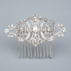 Bridal Vintage Style Hair Comb Silver Plated Austrian Crystals