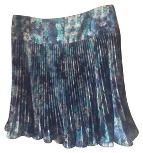 Nanette Lepore Spring Pleated Floral Print Knife Pleat Mini Skirt Blue