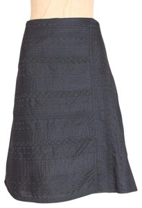 Odille Embroidered A-line Skirt BLACK