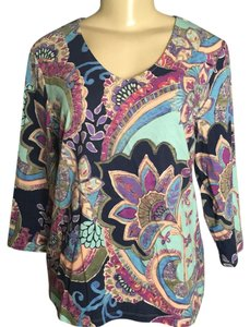 Chico's T Shirt Multi Colored Paisly Print
