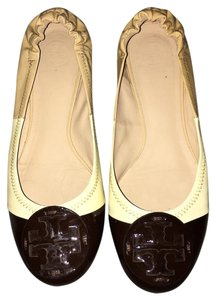 Tory Burch Leather Brown, white, tan Flats