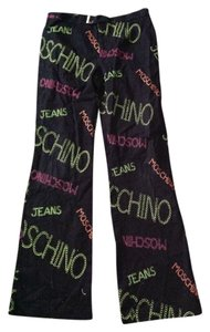 Moschino Wide Leg Pants Black/Multi-Color