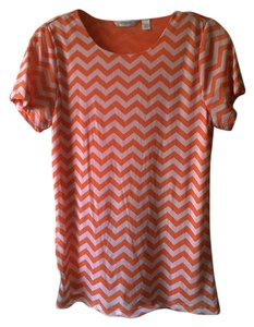 Liz Claiborne Top Orange/White