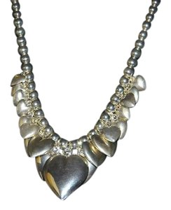 Other Sterling Silver Graduated Hearts & Ball Chain Necklace, Earrings