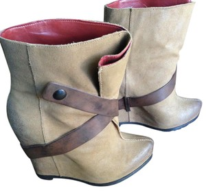 Luxury Rebel Bootie Leather Wedge Cognac Boots