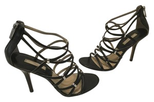 Michael Kors Black all leather strappy gladiator E39 Sandals