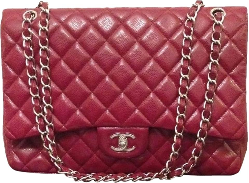 bae86765a093a9 Chanel 2.55 Reissue Jumbo Maxi Single Flap Silver Cc Logo Chain Hardware  10a 2010 Red Caviar Leather Shoulder Bag