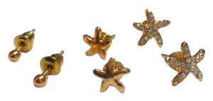 Other 3 Pair Gold Tone Star Stud Earrings Small J2950