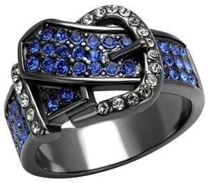 La Bella Rose Light Black Stainless Steel Austrian Crystal Buckle Ring - 08712