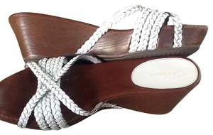Cole Haan White Braid And Brown Soles Sandals