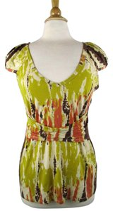 Plenty by Tracy Reese Top Chartreuse, Coral, Brown