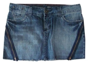 DKNY Raw Edge Cut Off Jean Mini Skirt Denim Blue