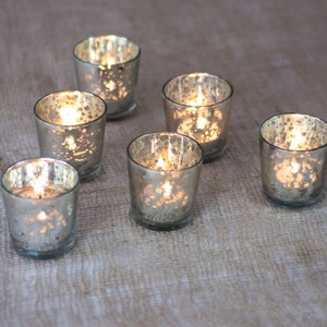 Luna Bazaar Silver Mercury Glass With Votive/Candle