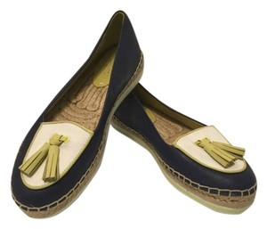 Coach Navy White Espadrille Tassels Multi color leather fabric jute and rubber flatforms Flats