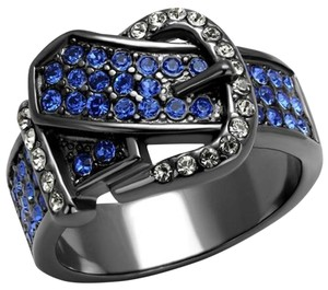 La Bella Rose Light Black Stainless Steel Crystal Buckle Ring - 08712