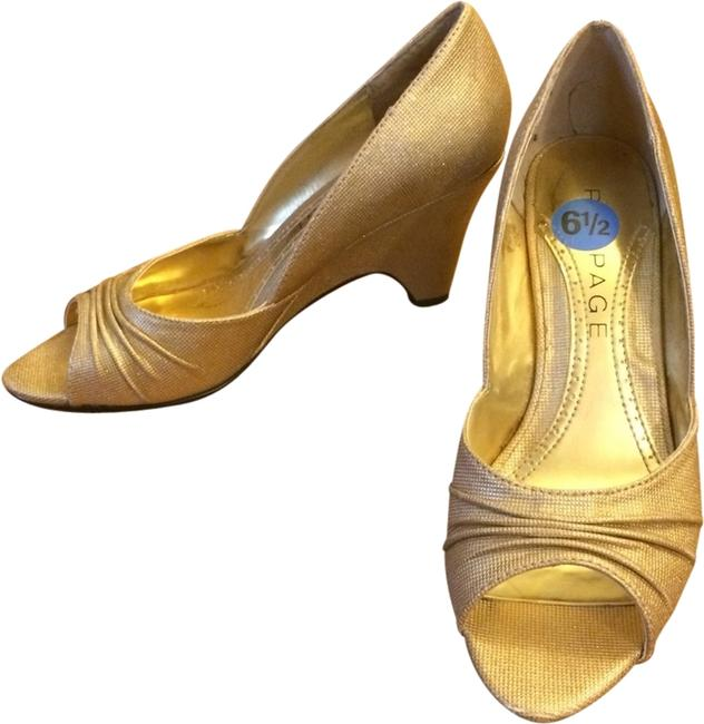Item - Gold Risque Peep-toe Demi Wedges Size US 6.5 Regular (M, B)