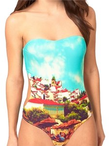 Other Cut Out Bandeau Swimsuit with Digital Beach Print