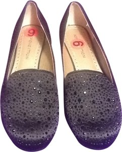 Adrienne Vittadini Satin Beaded Rounded Toe Black Flats