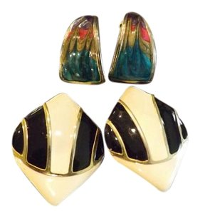 Vintage Enamel Earrings Vintage Enamel Clip-Ons
