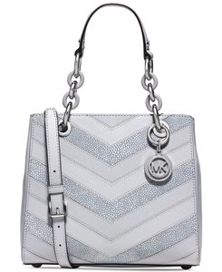 Michael Kors Cynthia Leather Satchel in Dove Silver tone