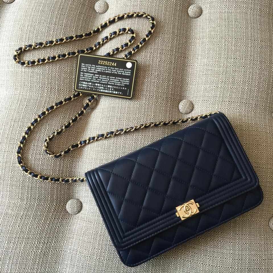 e5dbe5af1ed4 Chanel Evening Wallet on Chain Clutch Boy 2016 Rare Navy Le Woc Quilted  Lambskin Organizer Card Holder Ghw Gold Blue Leather Cross Body Bag
