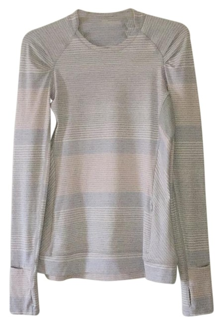Item - Om Stripe Heathered Silver Spoon Think Fast Activewear Top Size 6 (S, 28)