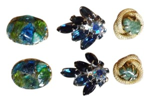 Vintage Earrings Beautiful Cool Colors, All Clip-Ons!
