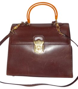 Prada 1960's Mod Two-way Style Satchel in Brown leather with Bakelite handle