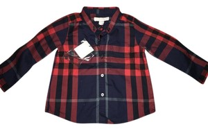 Burberry Plaid Boys Button Down Shirt red strips