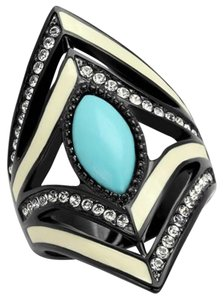 La Bella Rose Black Stainless Steel Crystal Boho Ring - 07986