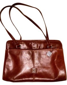 Giani Bernini Vintage Leather Compartments Zippers Satchel in brown