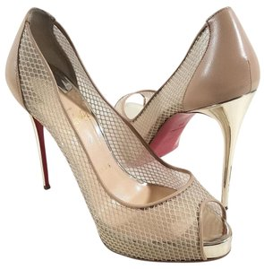 Christian Louboutin Peep Toe Dramatic Mesh Platform Mesh Upper Leather Upper Beige Pumps