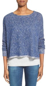 Eileen Fisher Dolman Sleeves Deep Side Slits Organic Yarns Bateau Neck Sweater