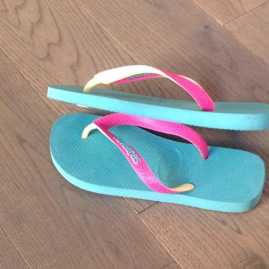 Havaianas Teal With Pink And Yellow Strap Sandals