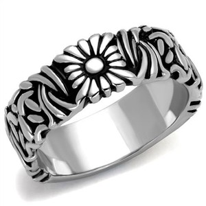 La Bella Rose Stainless Steel Flower Band Ring - 08109