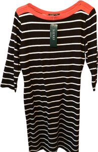 Lauren by Ralph Lauren short dress Brown and white stripe with orange trim on Tradesy
