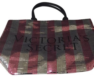 Victoria's Secret Victorias Sequin Tote in Black Silver & Pink