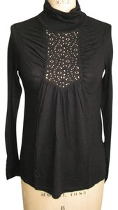 Ella Moss Lace Victorian Turtleneck T Shirt BLACK